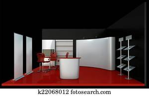 Empty black booth trade
