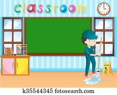 Janitor cleaning the classroom