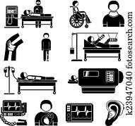 Life support medical equipment icons