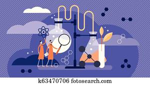 Science vector illustration. Flat medical pharmacy example with scientists.