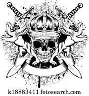 skull in crown, lions and crossed swords