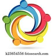 Teamwork unity people 3D logo
