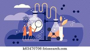 wissenschaft, vektor, illustration., flache, medizinische, apotheke, beispiel, mit, scientists.
