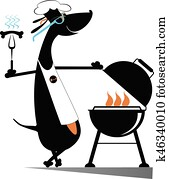 Barbecue and dog isolated