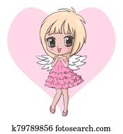 Cute little angel girl character