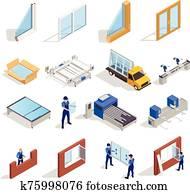 ensemble isométrique de production de fenêtres