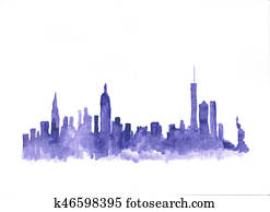Watercolor skyline of new york