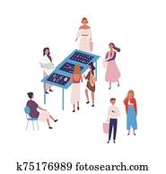 Flea market flat vector illustration. People buying designer jewelry and bijouterie, handmade accessories. Fashion market, street selling isolated on white background. Garage sell idea.