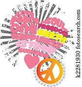 heart, love and peace graphic artwork