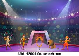 Juggler, clown, handler and lion on circus show