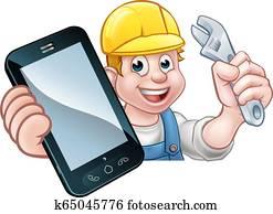 monteure, klempner, heimwerker, telefonger?t, begriff