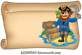Old scroll with pirate