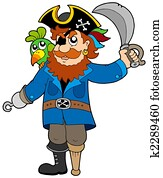Pirate with parrot and sabre