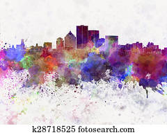 Rochester NY skyline in watercolor background