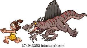 Spinosaurus chasing woman