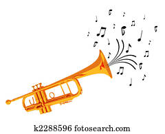 Trumpet blowing notes.