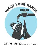 Wash your hands or safe hand washing vector symbol