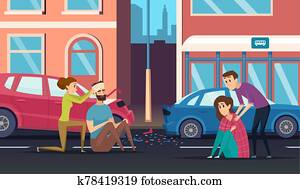 First aid. Road accident personal helping person to car or cycling driver medicine vector cartoon background