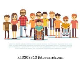 behinderten, child,, behindertes, children,, verschieden, studenten, in, rollstuhl, vektor, satz