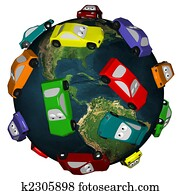 Cars Driving Around the Earth