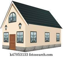 3D design for house with gray roof