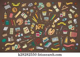 Art and craft vector symbols and objects