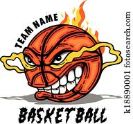 basketball with cartoon face