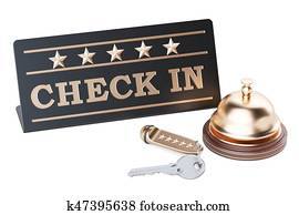 Check in concept, hotel key and reception bell, 3D rendering