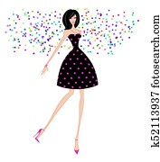 Chic Woman in a Party Dress With Confetti