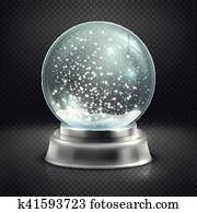 Christmas snow globe isolated on transparent checkered background vector illustration