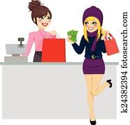frau- einkaufen, lohnend, mit, bargeld
