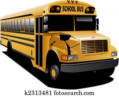 gelb, schule, bus., vektor, abbildung