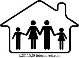 haus, familie, eltern, und, kindern, sicherer, in, gerundet, eigenheim