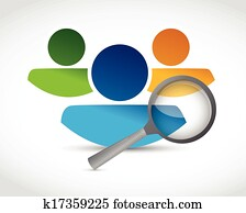 human resources and magnify glass. illustration