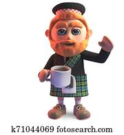 Thirsty Scottish man in kilt drinking a cup of tea, 3d illustration
