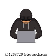 vector flat hacker with laptop isolated