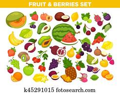 Fruits and berries vector isolated icons set