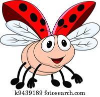 Lady bug flying