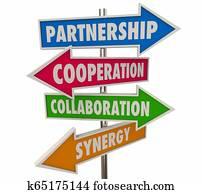 Partnership Cooperation Arrow Signs 3d Illustration