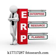 3d businessman with erp signpost illustration