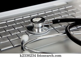a, medizinische, stethoskop, und, ein, laptop-computer