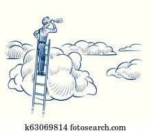 Business vision. Businessman with telescope standing on ladder among clouds. Successful future achievements sketch vector concept