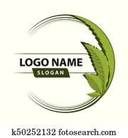 cannabis, grünes blatt, logo.