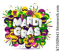 Illustration of Carnival Mardi gras on multicolors watercolor icons, colors of the Mardi Gras. Text of paper style.