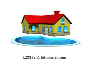 isolated house with swimming pool