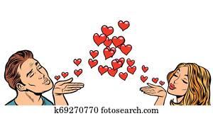 love couple kiss heart