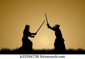 Two men engage in martial arts.