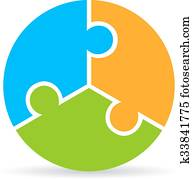 Three part puzzle process diagram