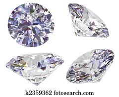 Four view of diamond isolated on white