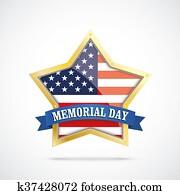 Golden Star USA Flag Memorial Day